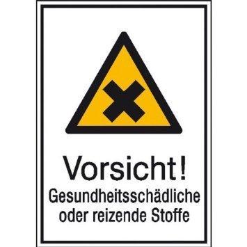 Vorsicht! Gesundheitsschädliche oder reizende Stoffe - 13,10x18,50cm DE921