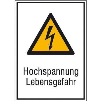 Hochspannung Lebensgefahr Warnschild - 26,20x37,10cm DE829