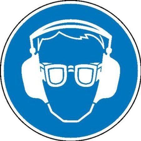 Gehör- und Augenschutz benutzen Gebotsschild auf Bogen - 6x 5cm