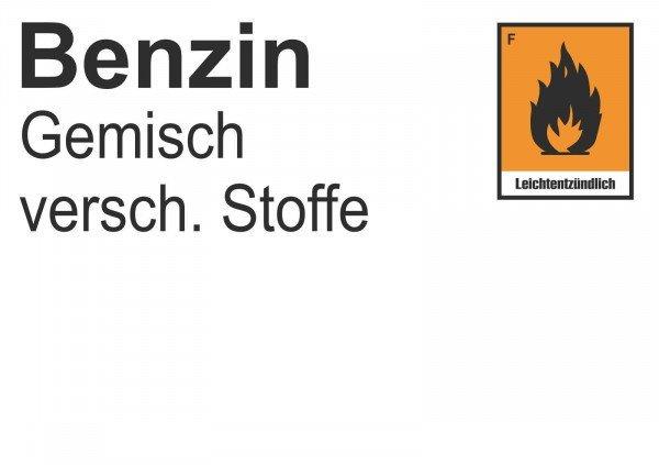 Gefahrstoffetiketten für Laborsubstanzen Benzin - 10,50x7,40cm