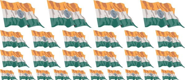 Mini Aufkleber Set - Fahne - Indien