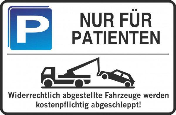 Parkplatzschild - NUR FÜR PATIENTEN - 300x200 mm