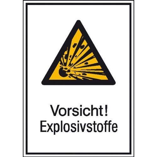 Vorsicht! Explosivstoffe Warnschild - 13,10x18,50cm DE114