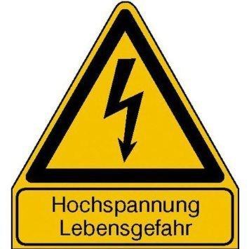 Hochspannung Lebensgefahr Warnschild - 245x210cm DE835