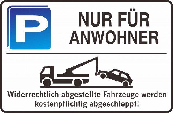 Parkplatzschild - NUR FÜR ANWOHNER - 300x200 mm