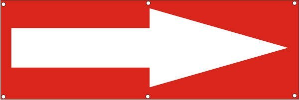 Werbeplane / Gerüstplane - p114 - Pfeil rechts - NEU - für Baustelle, Garten, Zaun oder Veranstaltun