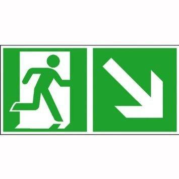 Rettungsschild Rettungsweg rechts abwärts - 30x15cm DE999