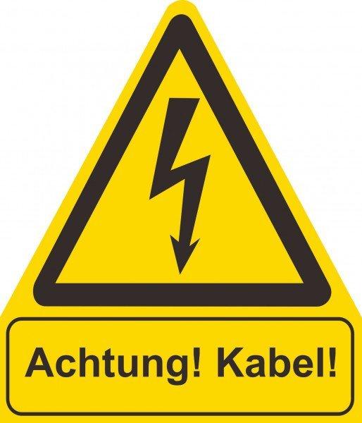 Achtung! Kabel! Warnschild, 21x24,50cm