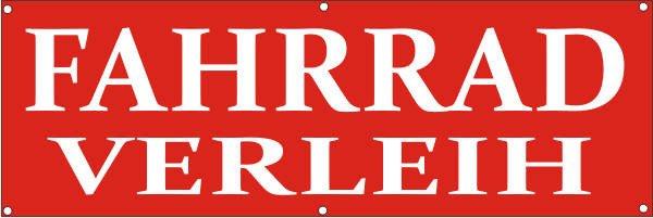 Werbeplane / Gerüstplane - p135 - Fahrradverleih - NEU - für Baustelle, Garten, Zaun oder Veranstalt