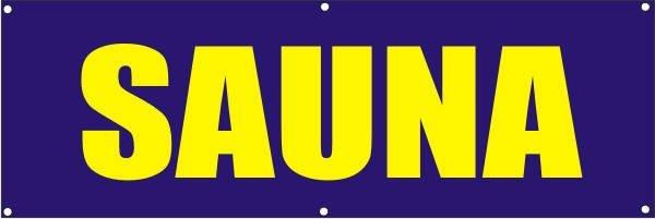Werbeplane / Gerüstplane - p116 - Sauna - NEU - für Baustelle, Garten, Zaun oder Veranstaltung