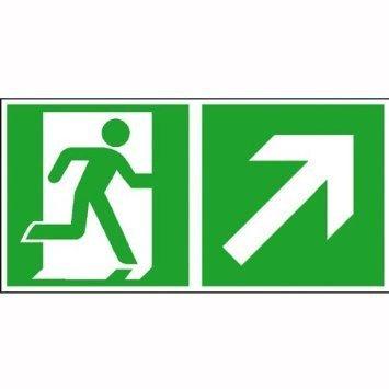 Rettungsschild Rettungsweg rechts aufwärts - 40x20cm DE1008
