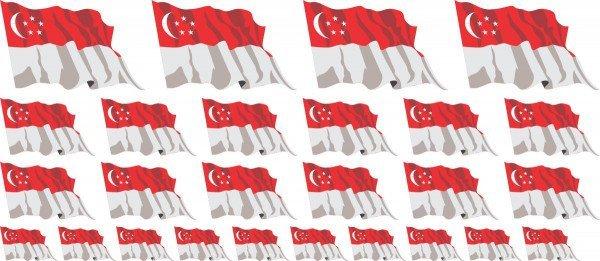 Mini Aufkleber Set - Singapur