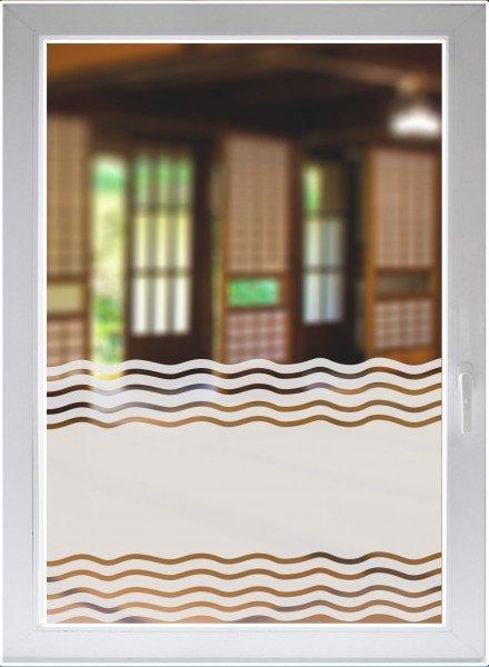 Glasdekorfolie Dusche Folie für Duschkabine Sichtschutz Bad Fensterfolie Wellen satiniert blickdicht
