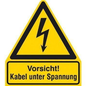 Vorsicht! Kabel unter Spannung Warnschild - 21x24,50cm DE750
