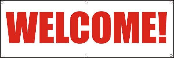 Werbeplane / Gerüstplane - p091 - WELCOME - NEU - für Baustelle, Garten, Zaun oder Veranstaltung