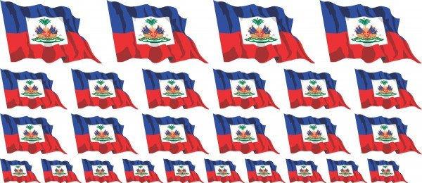 Mini Aufkleber Set - Fahne - Haiti