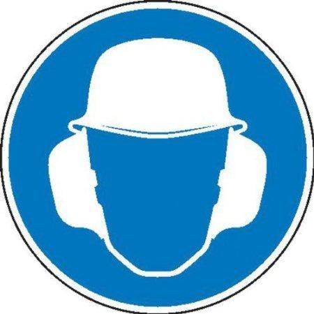 Gehör- und Kopfschutz benutzen Gebotsschild - 10cm DE547
