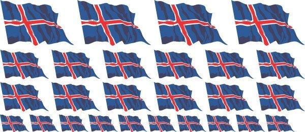 Mini Aufkleber Set - Fahne - Island