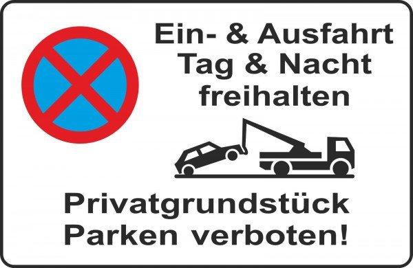 Parkplatzschild - Ein-& Ausfahrt Tag & Nacht freihalten - 300x200 cm