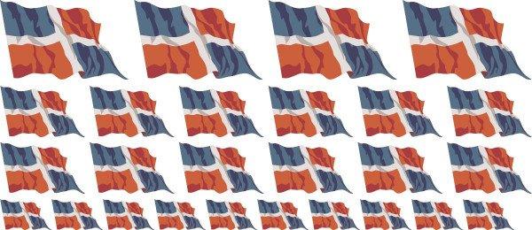 Mini Aufkleber Set - Fahne - Dominikanische Republik