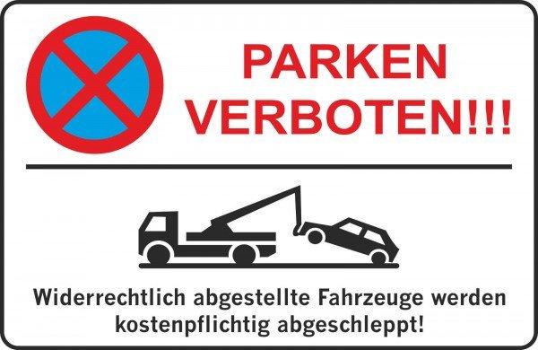 Parkplatzschild - PARKEN verboten !!! - 300x200 mm