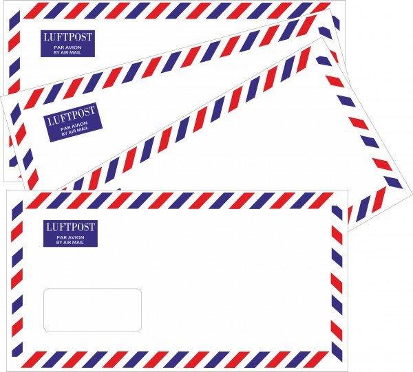 Luftpostumschläge - Umschlag DIN lang mit Fenster - selbstklebend - Luftpost