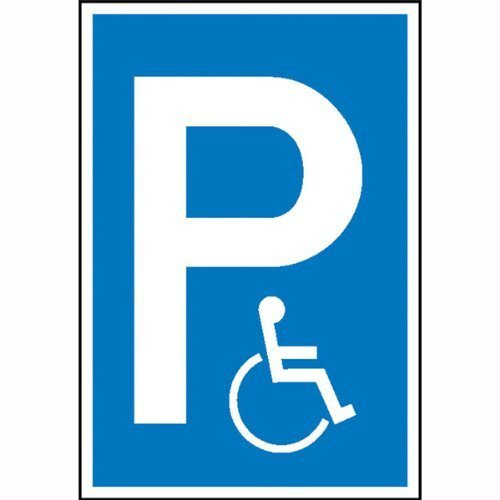 Parkplatzschild Symbol: P - Rollstuhlfahrer (Symbol) - 15x25cm DE87