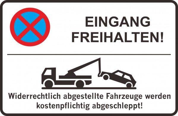 Parkplatzschild - Eingang freihalten! - 300x200 mm