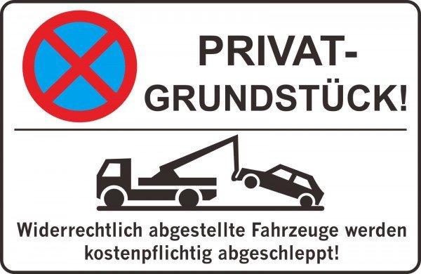 Parkplatzschild - PRIVAT-GRUNDSTÜCK! - 300x200 mm