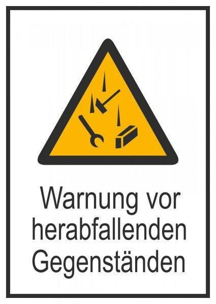 Vorsicht! Herabfallende Gegenstände Warnschild, Folie13,10x18,50cm