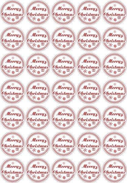 Merry Christmas - Aufkleber für Weihnachten 35 Stück - weiß Vintage - Labels - Stickers