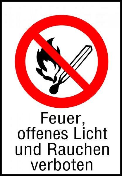 Feuer, Offenes Licht und Rauchen verboten - 297x210 mm