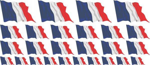 Mini Aufkleber Set - Fahne - Frankreich