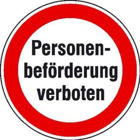 Personenbeförderung verboten Hinweisschild - 20cm DE396