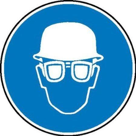 Augen- und Kopfschutz benutzen Gebotsschild - 20cm DE549