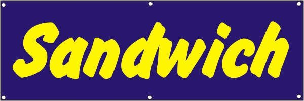 Werbeplane / Gerüstplane - p077 - Sandwich - NEU - für Baustelle, Garten, Zaun oder Veranstaltung