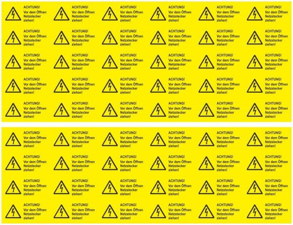 Achtung! Vor dem Öffnen Netzstecker Warnschild Bogen 54 Stück 32x16 m