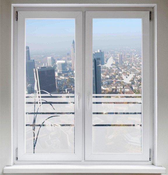 Fensterbild Glasdekorfolie Sichtschutzfolie Sonnenschutz Schilf Zugvögel Kranich satiniert