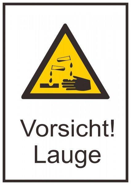 Vorsicht! Lauge Warnschild, 13,10x18,50cm