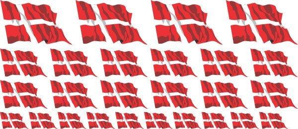 Mini Aufkleber Set - Fahne - Dänemark