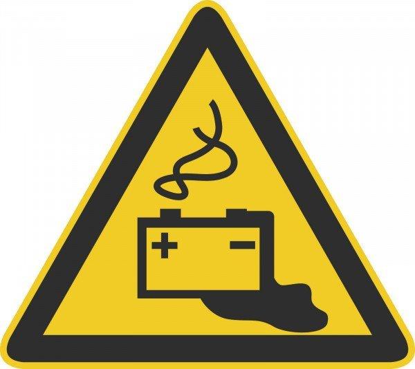 Warnung vor Gefahren durch Batterien Warnschild, 20cm