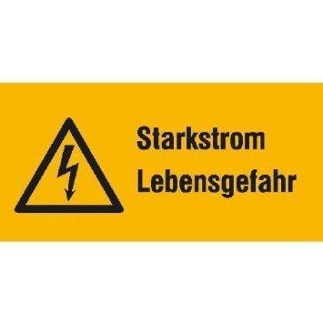 Starkstrom Lebensgefahr - 13,10x6,50cm DE811