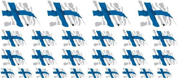 Mini Aufkleber Set - Fahne - Finnland