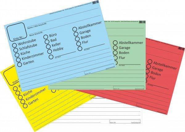 INDIGOS UG ® - Umzugsetiketten 100 Stück SET in 5 verschiedenen Farben - ideal zum Beschriften