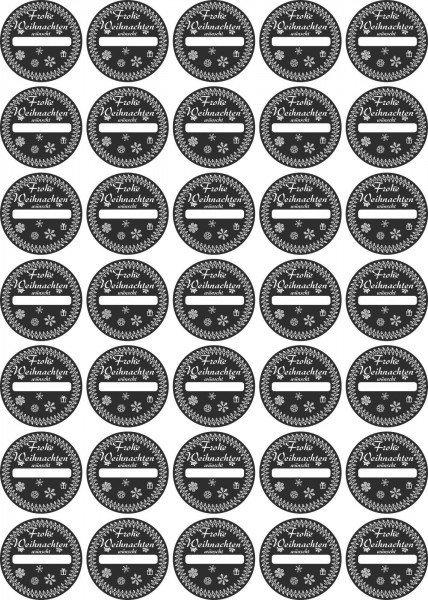 Aufkleber - Frohe Weihnachten wünscht...- schwarz - zum Selbstbeschriften - Label - Sticker