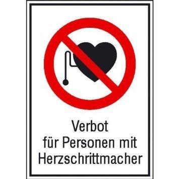 Verbot für Personen mit Herzschrittmacher - 13,10x18,50cm DE970