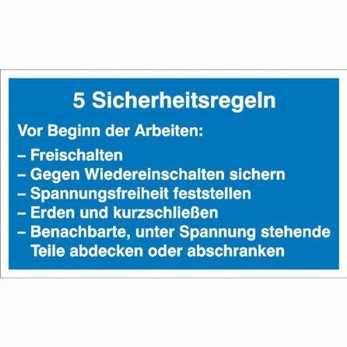 5 Sicherheitsregeln Hinweisschild - 20x12cm DE148