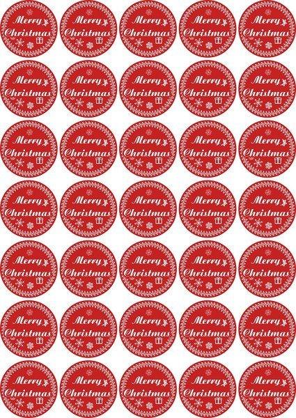 Merry Christmas - Aufkleber für Weihnachten 35 Stück - rot Vintage für Geschenke oder Karten