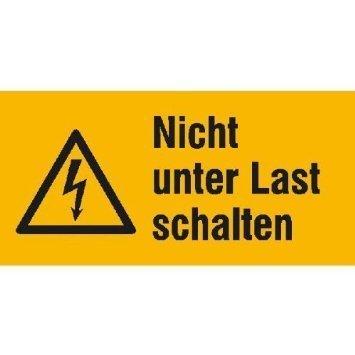 Nicht unter Last schalten Warnschild - 14,80x7,40cm DE1019