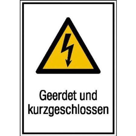 Geerdet und kurzgeschlossen Warn-Kombischild - 13,1x18,5cm DE369